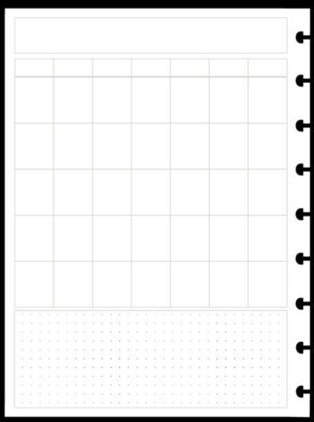 Refil Mensal em Branco Vertical - Tamanho A5