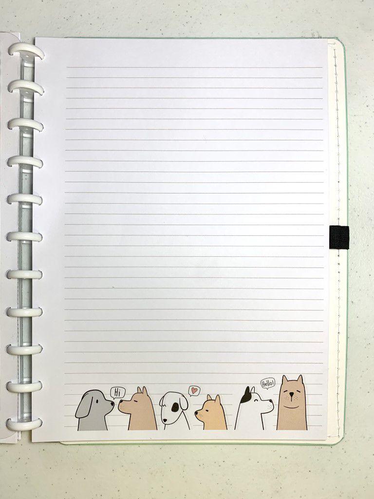 Refil de folhas pautadas Puppy Love (Grande)