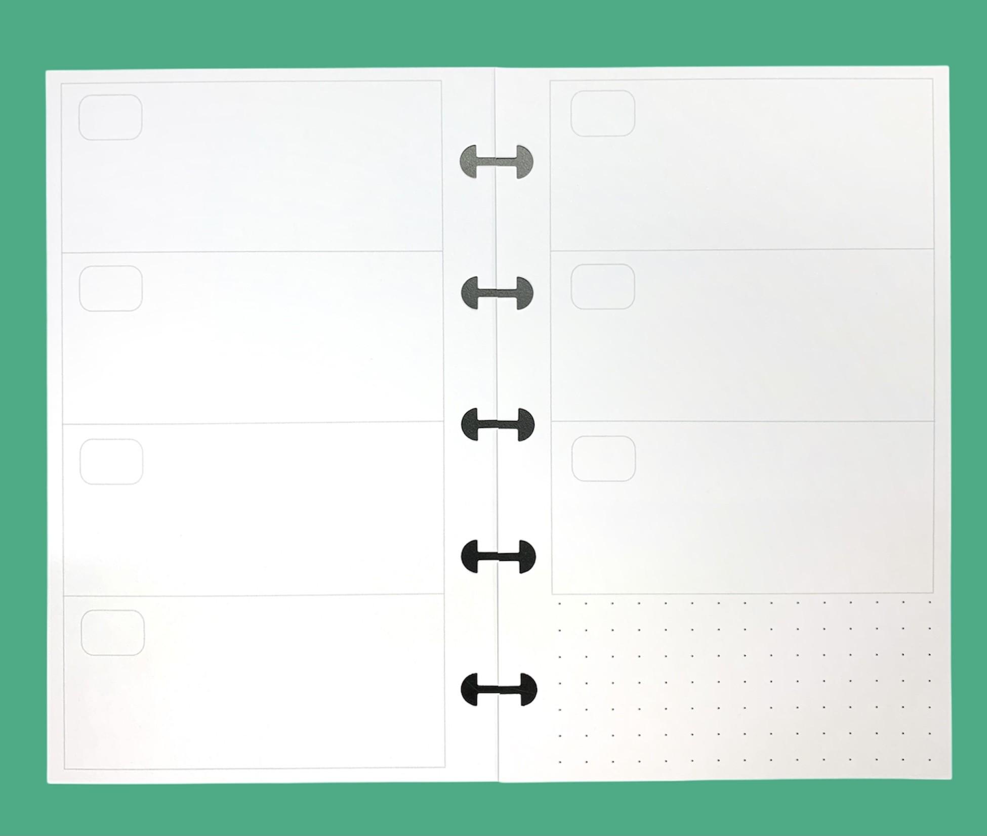 Refil Semanal em Branco Dividido Horizontal - Tamanho Pequeno
