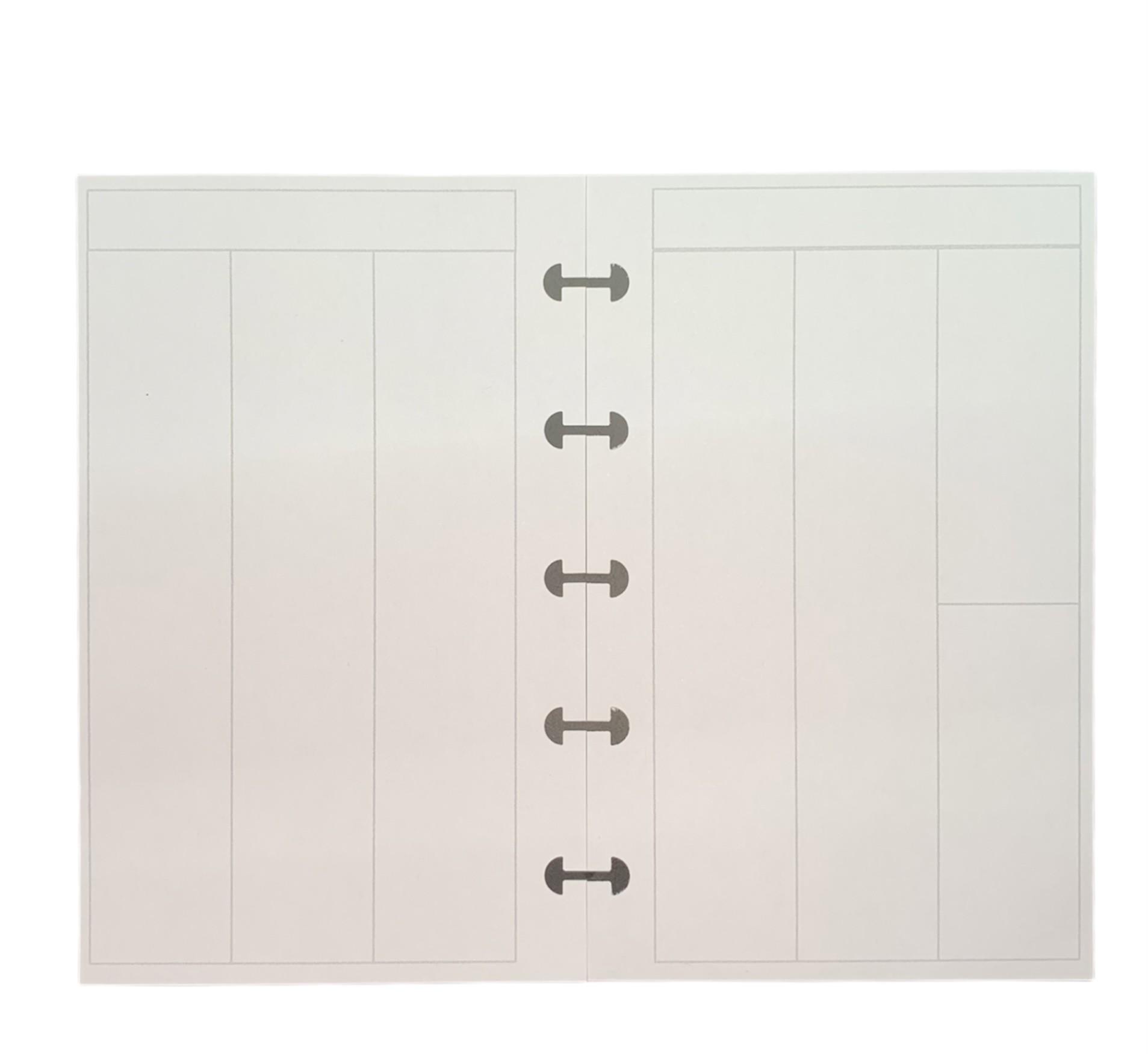 Refil Semanal em Branco Dividido Vertical - Tamanho Pequeno