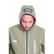 Blusa Corta Vento Army Ziper Com Capuz Verde