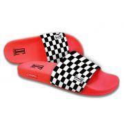 Chinelo Slide C/Velcro Xadrez Vermelho