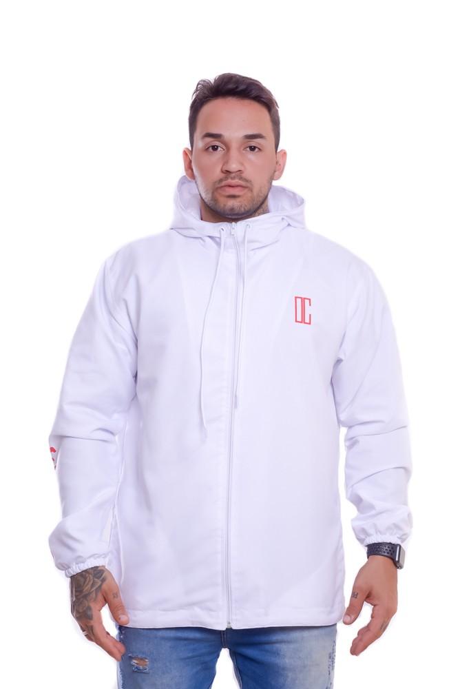 Blusa Corta Vento Doha Ziper Com Capuz Branca