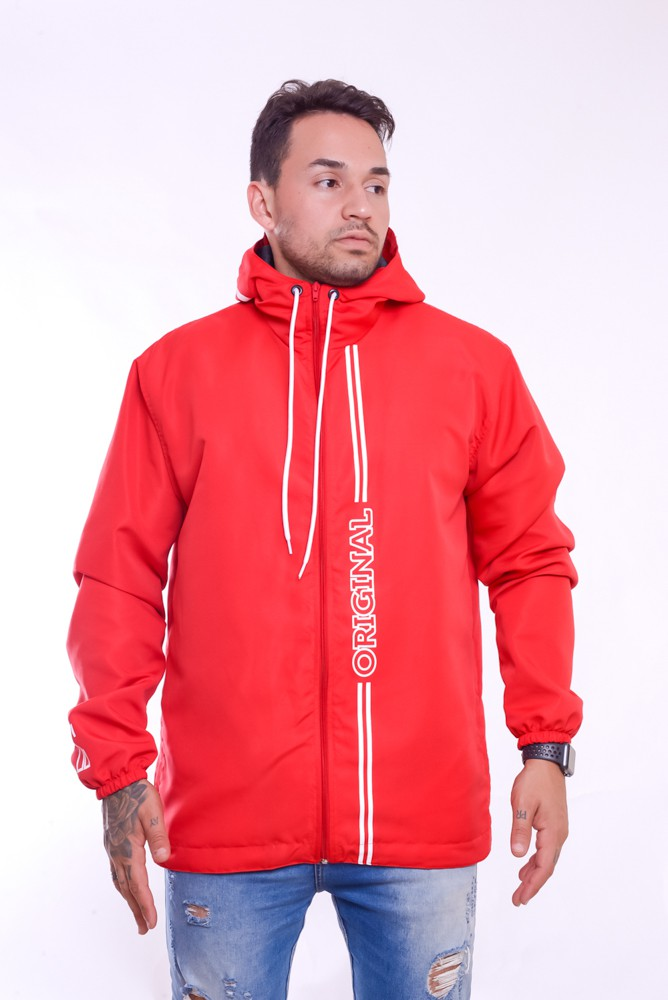 Blusa Corta Vento Flame Ziper Com Capuz Vermelho