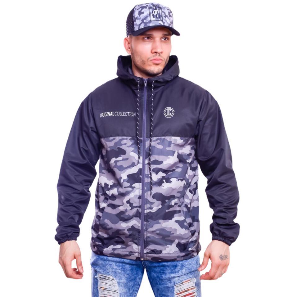 Blusa Corta Vento Military Black Ziper Com Capuz