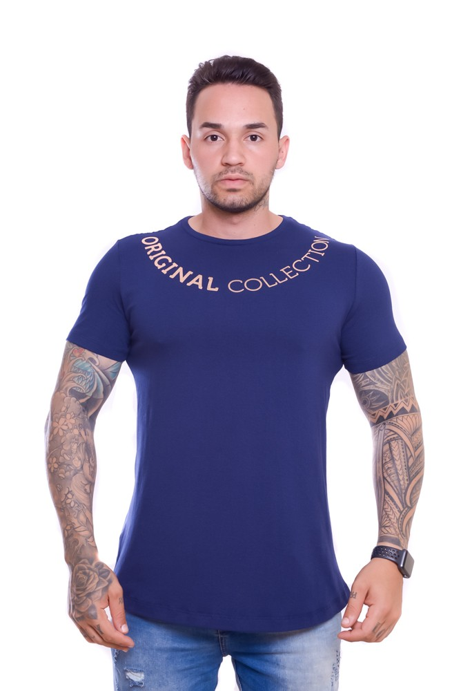 Camiseta OC Exclusive Corrente Gold Marinho