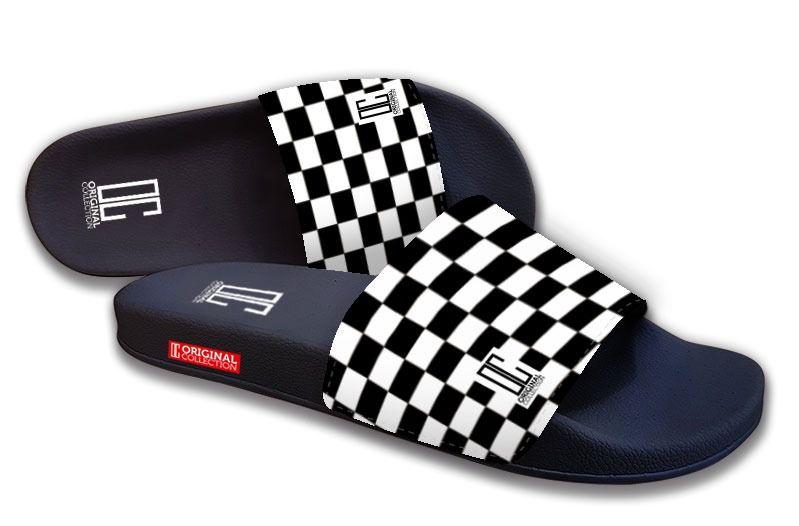 Chinelo Slide C/Velcro Xadrez Preto