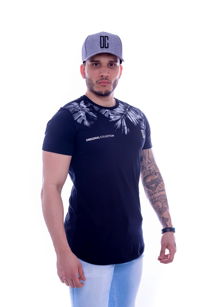 T shirt Confort Original Collection Cancun long Preta