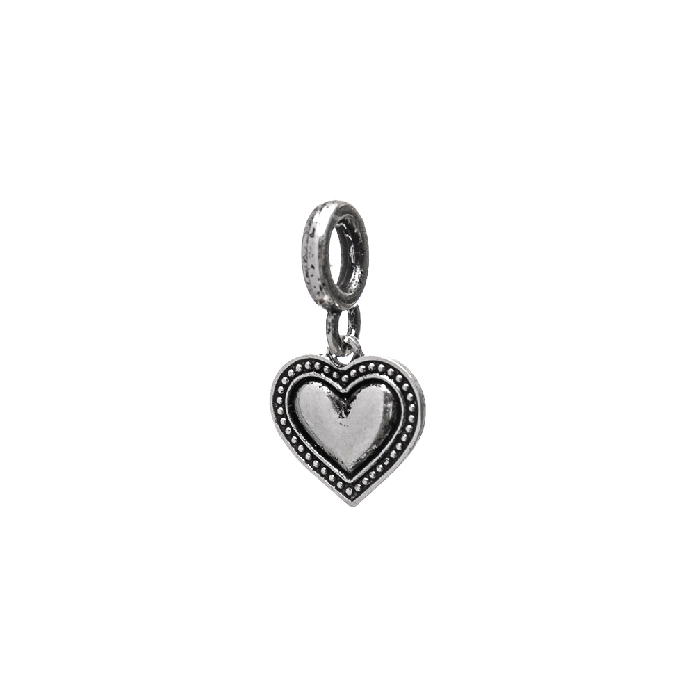 Berloque Coração Liso com Pontilhado na Borda Envelhecido