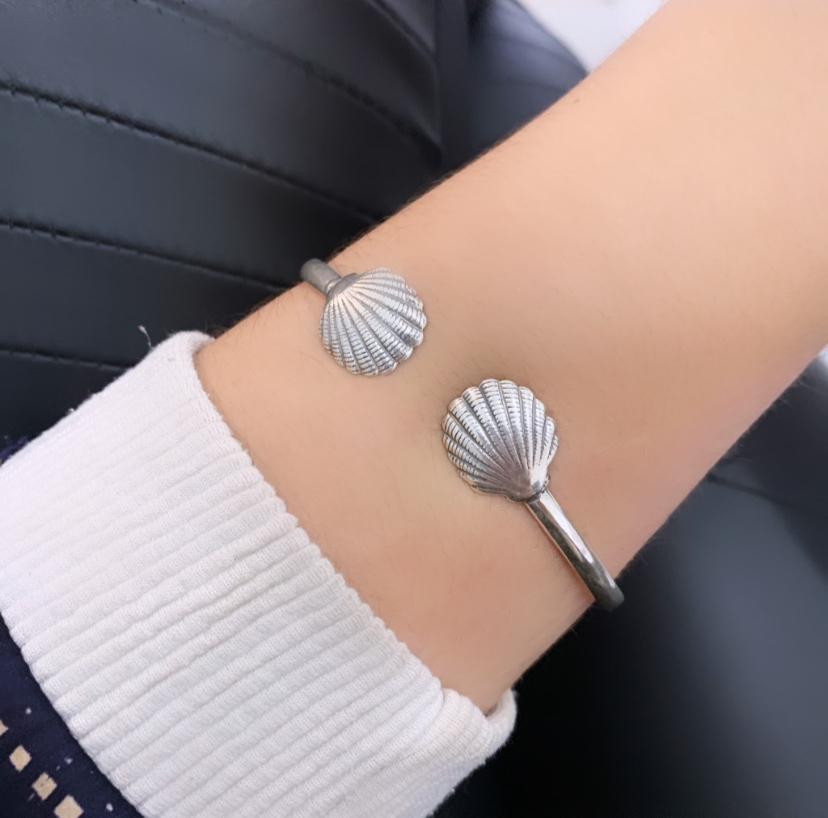 Bracelete Concha Regulável Envelhecido