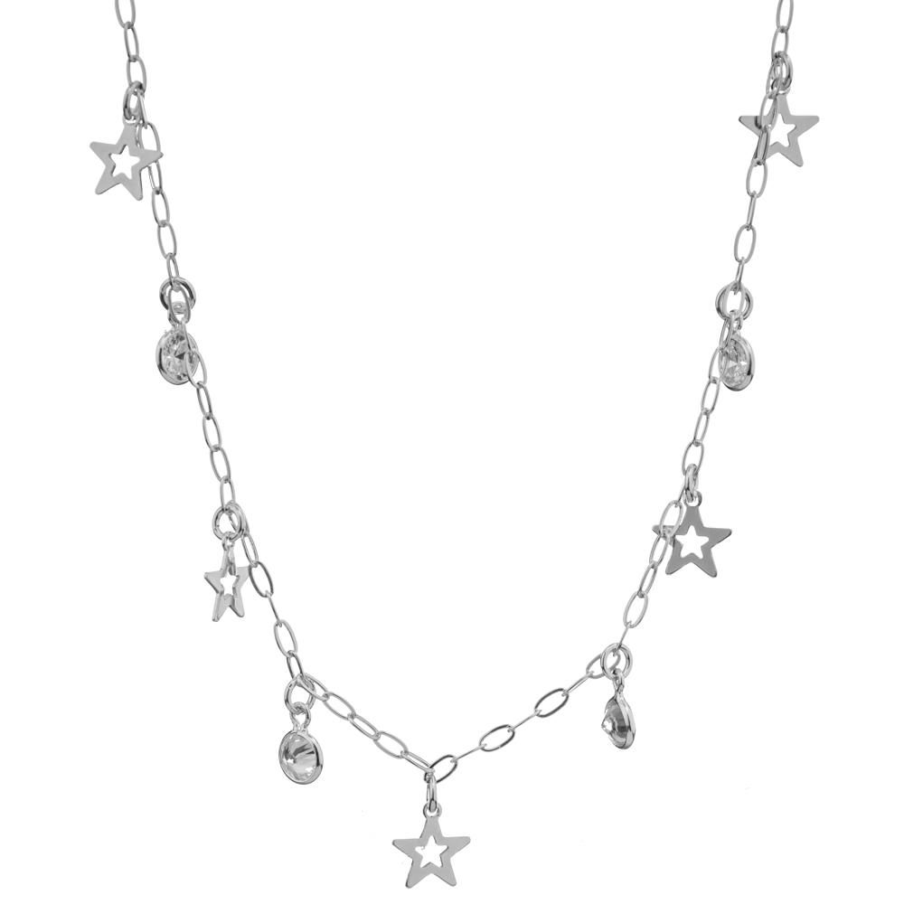 Choker Com Pingentes  Estrelas Vazadas e Zircônias Intercaladas