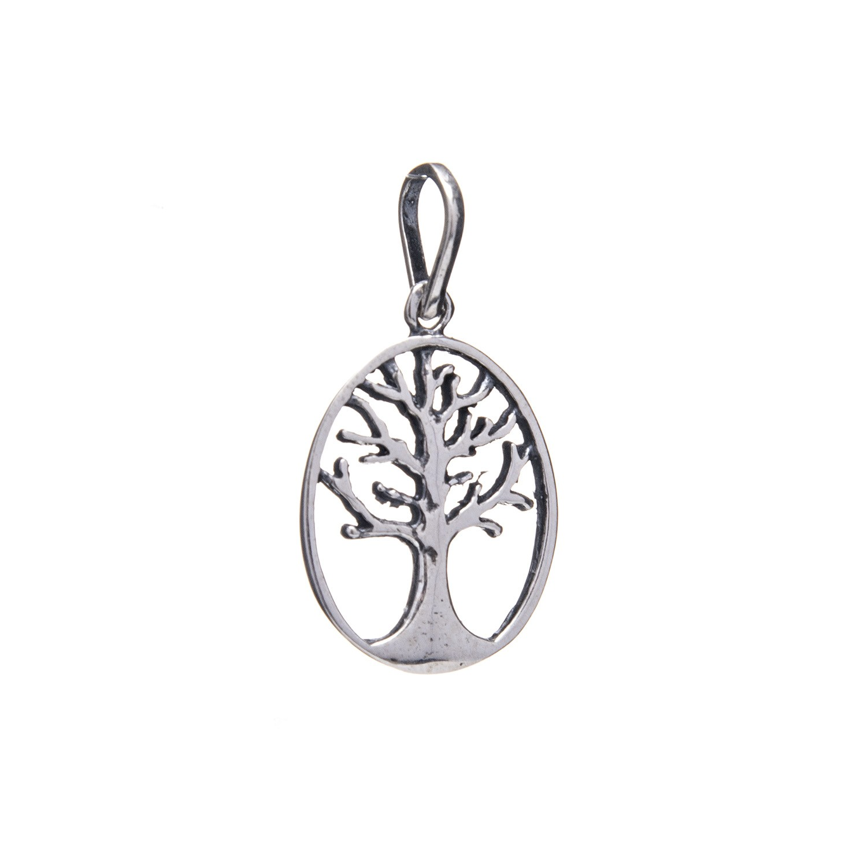 Pingente Árvore da Vida Vazada Oval  Envelhecida