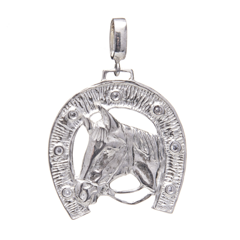 Pingente Ferradura de Zircônia com Cavalo