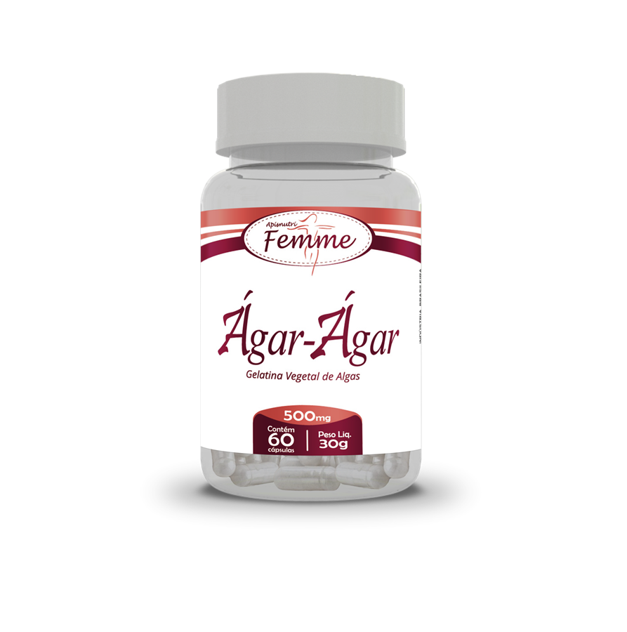 Ágar Ágar 500mg c/60 cápsulas (Gelatina Vegetal de Algas)