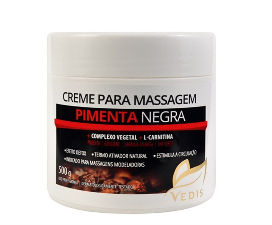 Creme de Massagem Pimenta Negra 500g Vedis