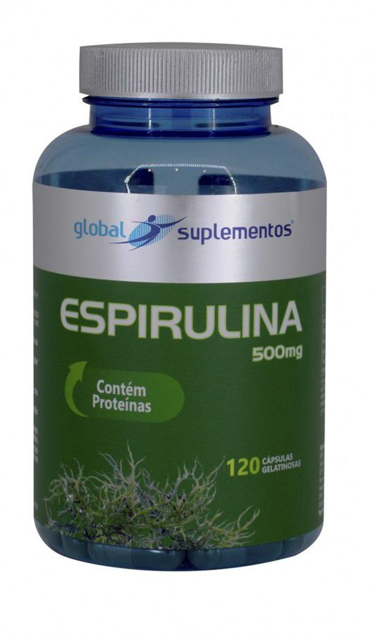Espirulina 500mg c/120 cápsulas - Global Suplementos