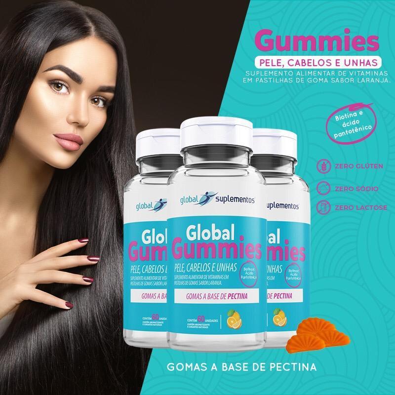 Global Gummies Pele,Cabelos e Unhas