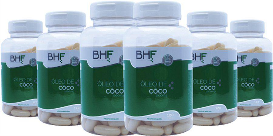 Kit c/6 Potes de Óleo de Coco com 120 capsulas da BHF