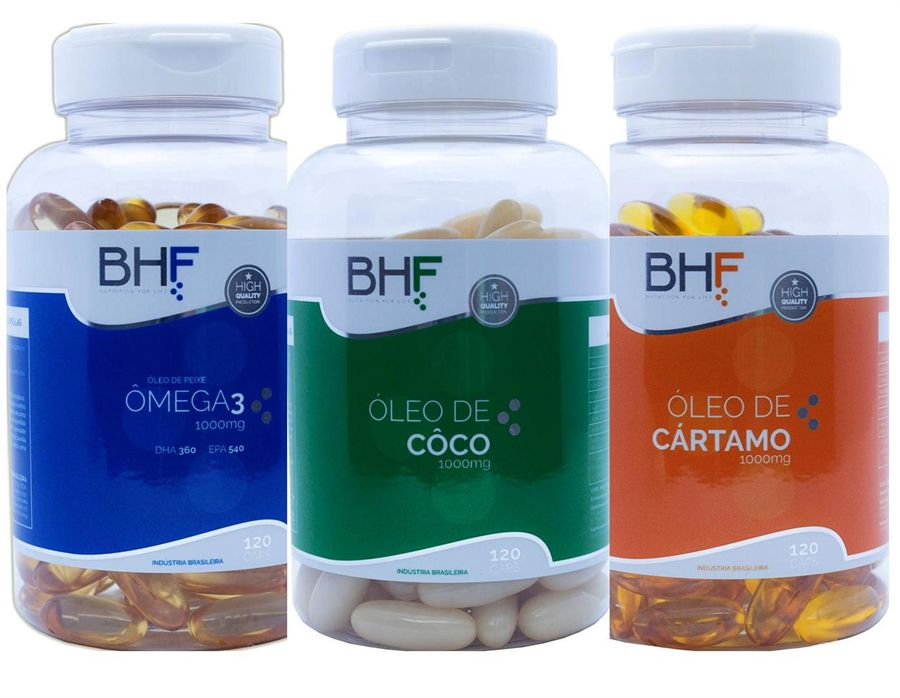 Kit Cártamo + Côco + Ômega 3  c/120 cáp de 1000 mg cada.