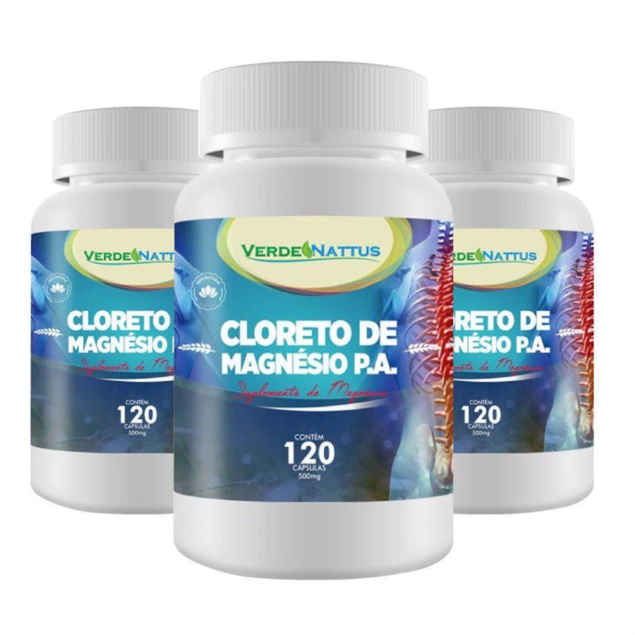 Kit Cloreto de Magnésio P.A. com 3 Potes de 500mg c/120 cápsulas - Nutri Vale