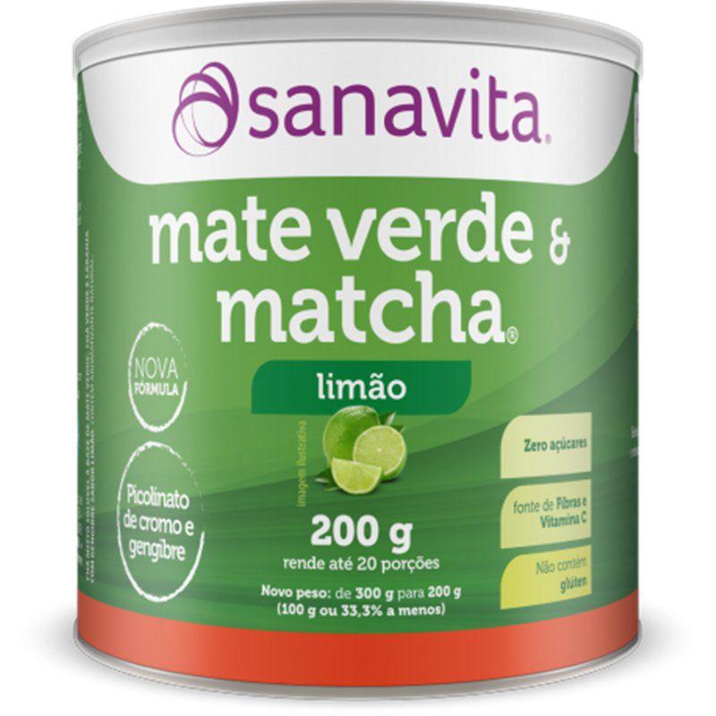Mate Verde e Matcha Sabor Limão 200 g Sanavita