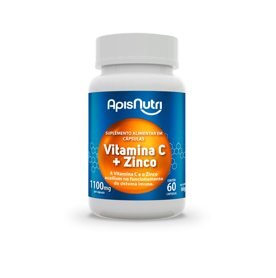 Vitamina C + Zinco 1100 mg 60 Cap Apisnutri