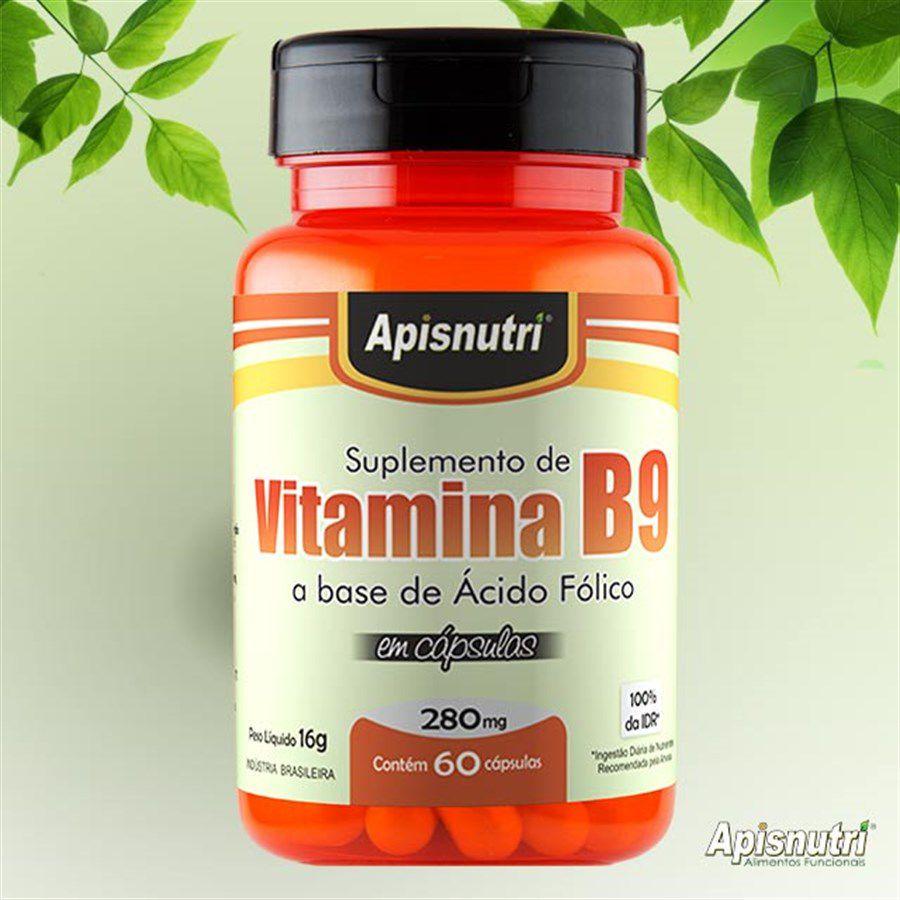 Vitamina B9 (Ácido Fólico) 280mg c/60 cápsulas Apisnutri