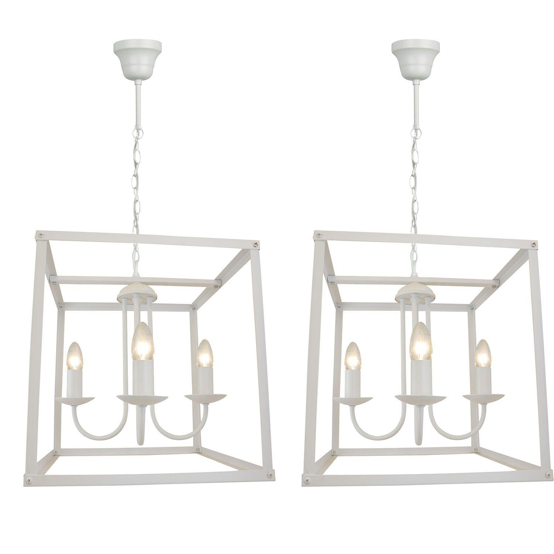 02 Pendentes lustre industrial para mesa 100x36x36 branco