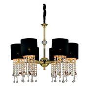 Lustre para sala Cristal 162x71 metal tecido preto e dourado