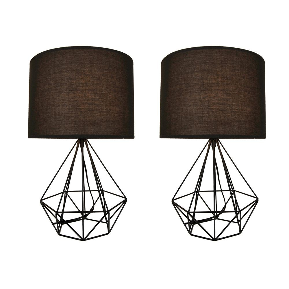 2 Abajures luminária de mesa charme para sala 47x25 metal preto