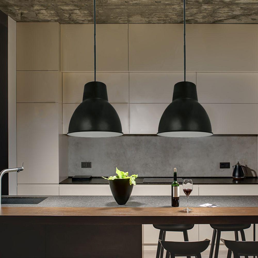 2 Pendente Metal Preto estilo industrial para mesa de jantar