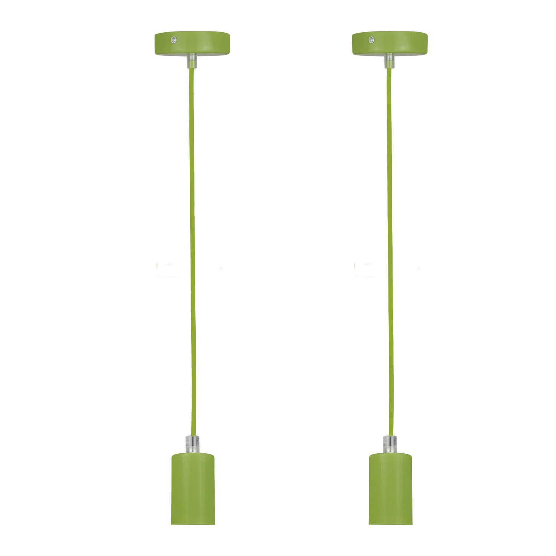 2 Pendente soquete retro para mesa 155cm metal verde