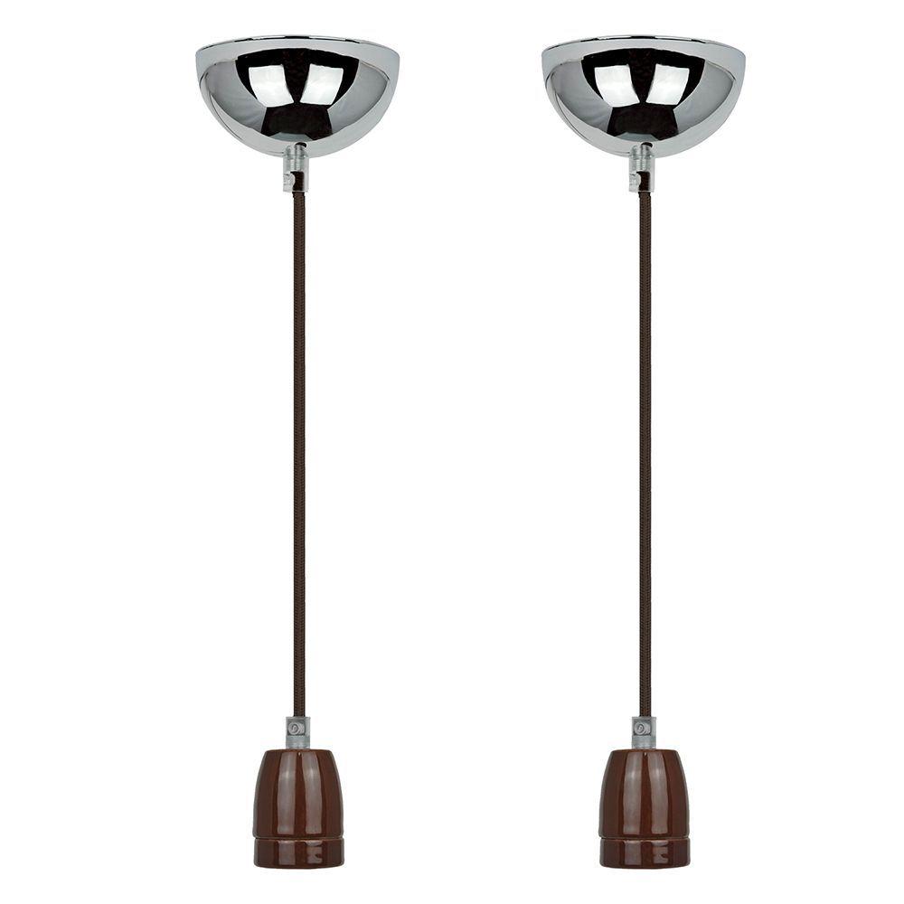 2 Pendentes luminária de tecido 165cm na cor marrom