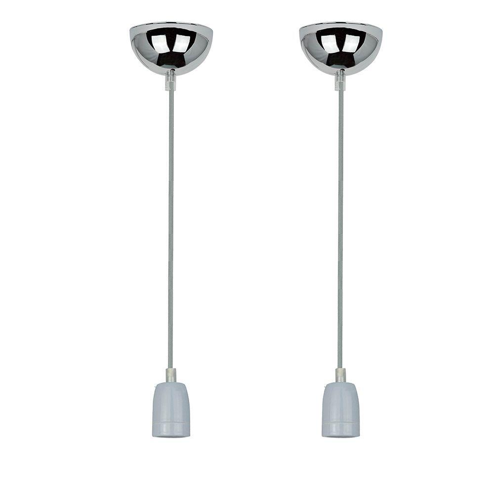 2 Pendentes luminária tecido 165cm na cor cinza