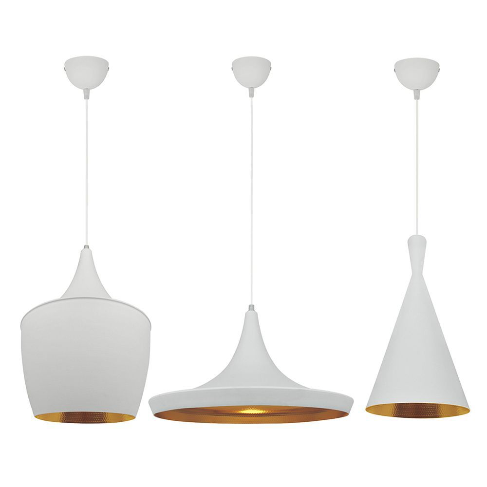 3 Pendentes luminárias estilo American branco e dourado