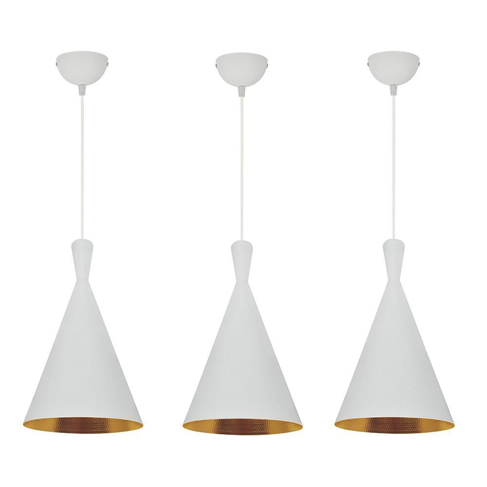 3 Pendentes lustre 110x19x19cm alumínio branco e dourado