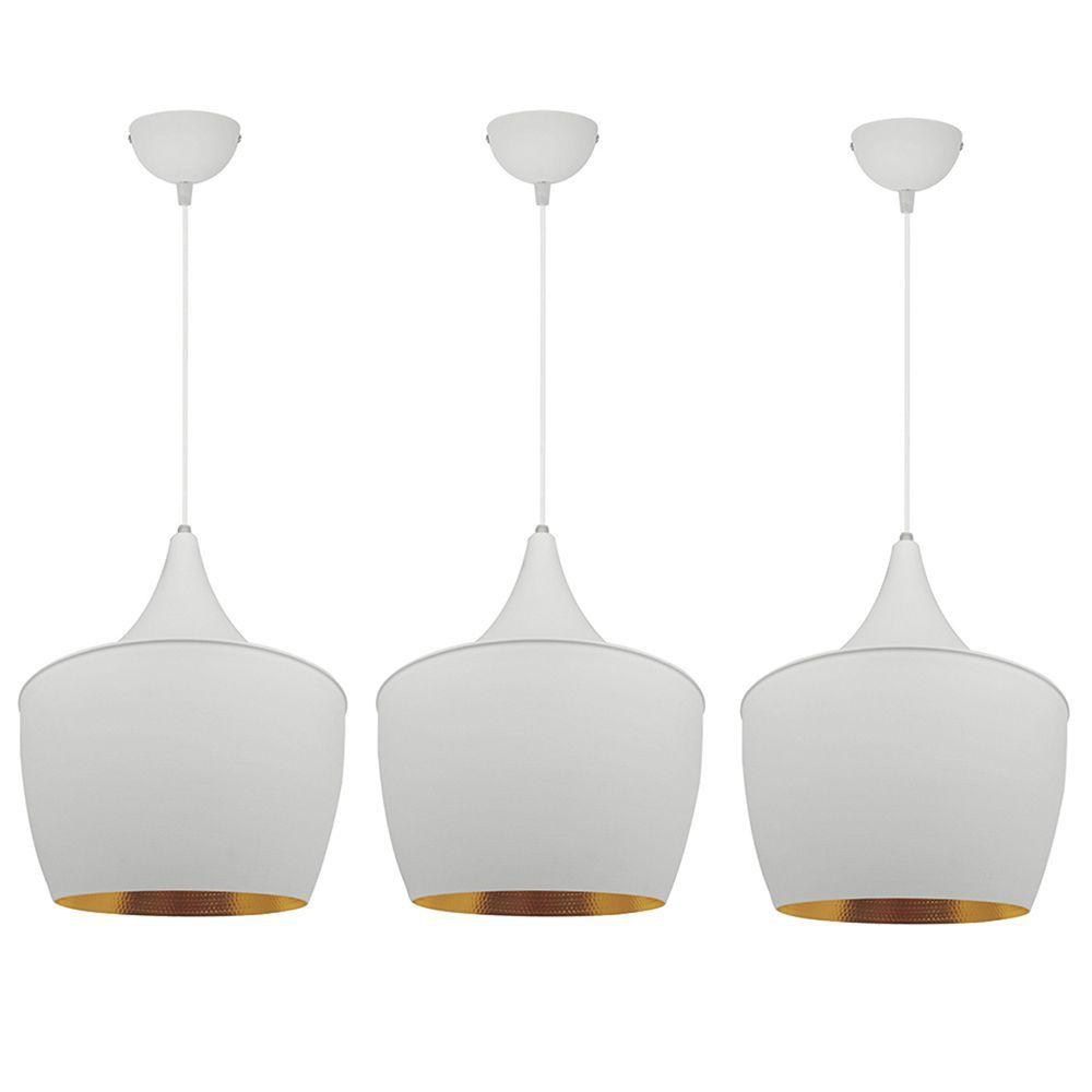 3 Pendentes lustre 110x25x25 alumínio branco e dourado