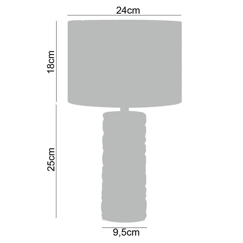 Abajur de mesa Charme 43X24X24 vidro e tecido veludo preto
