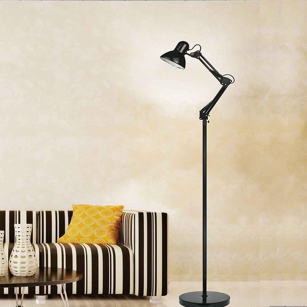 Coluna Abajur retro de chão Lamp Show 150cm metal preta