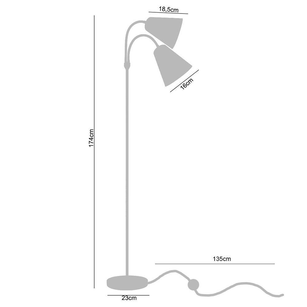 Coluna de piso Abajur de Chão, Lamp Show 174cm metal e preto