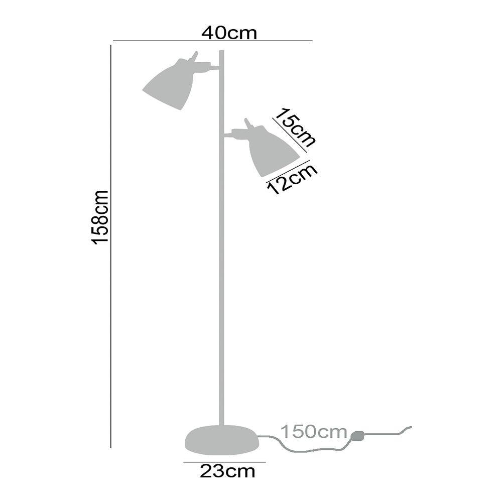 Coluna de piso abajur de chao para sala 158cm metal cinza