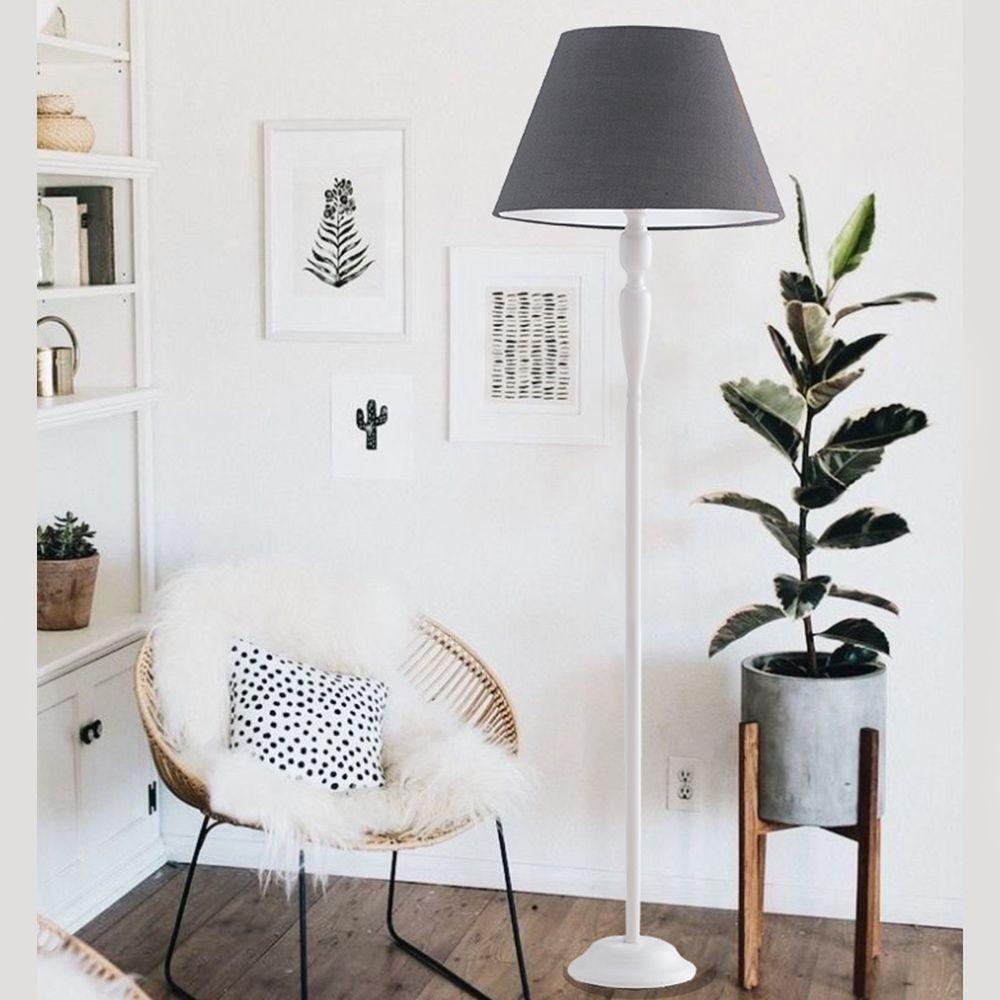 Luminária para leitura metal branco e cúpula cinza