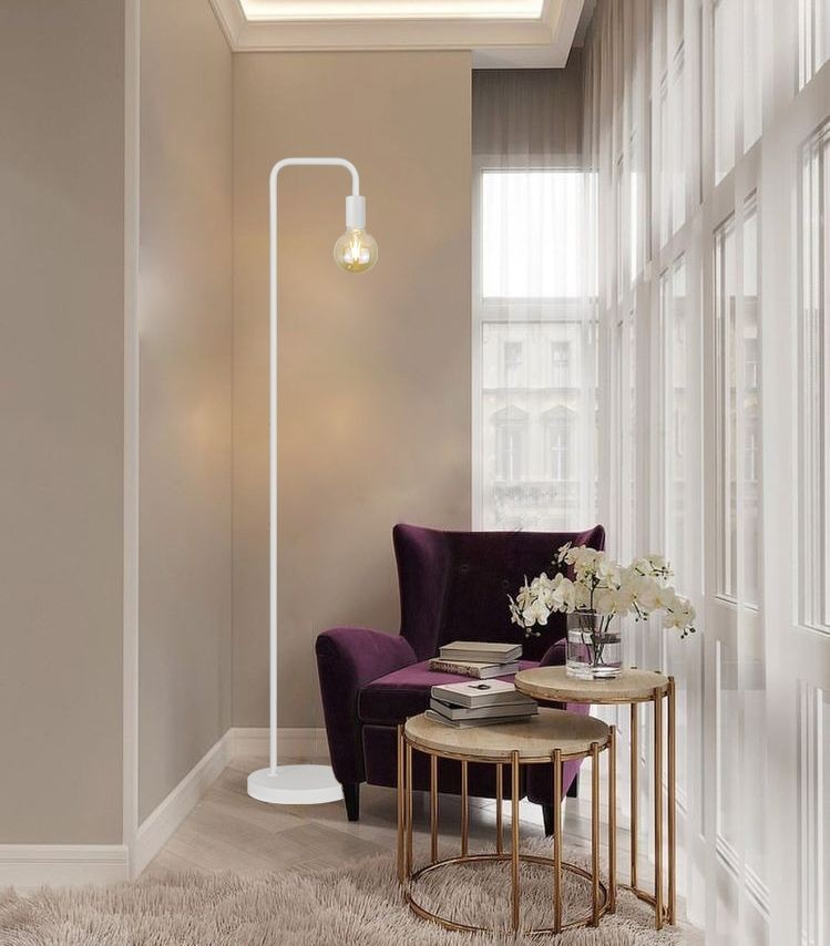 Luminária piso Savi metal branco