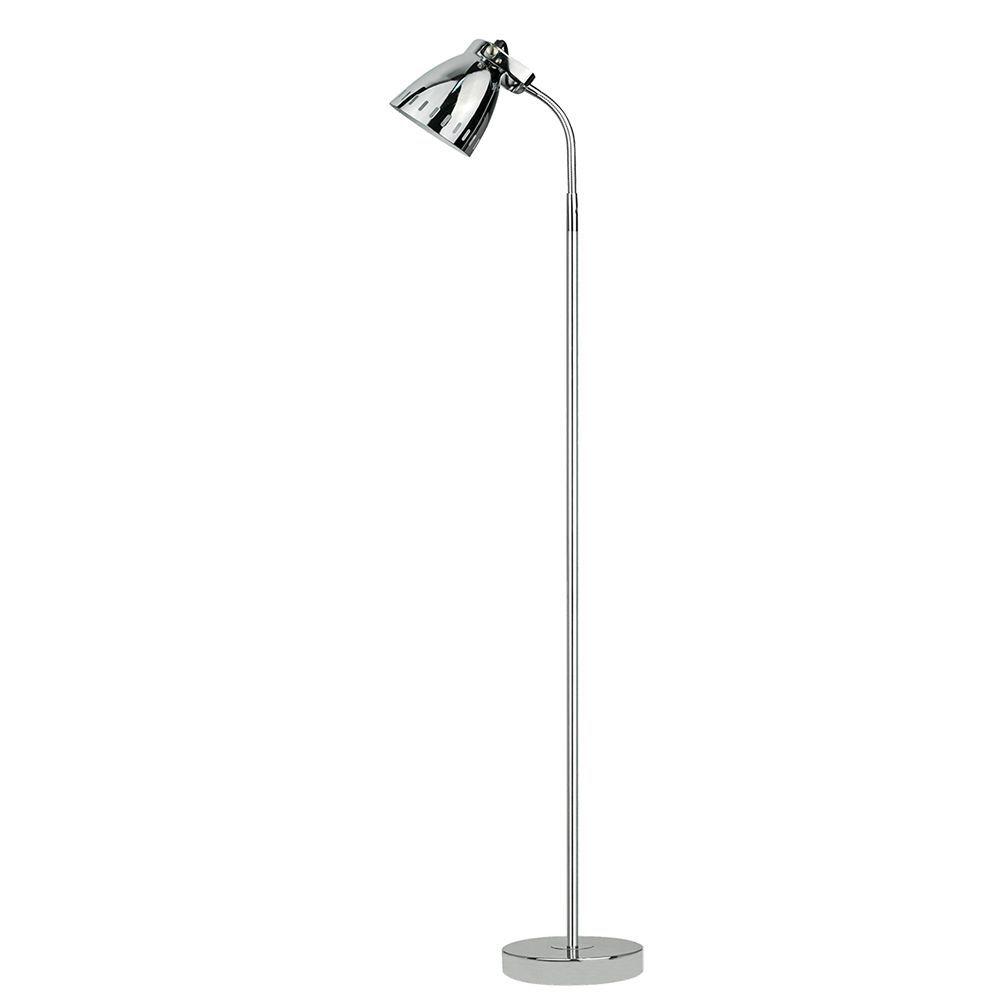 Coluna luminária de chao para leitura 136cm metal cromada