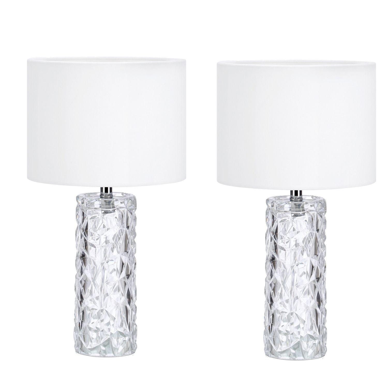 Kit 2 abajures lindos para quarto de vidro e veludo branco