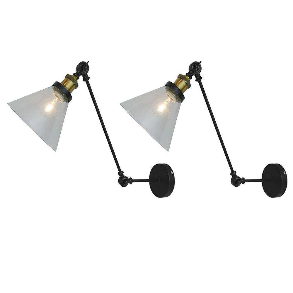 Kit 2 arandelas estilo industrial vidro e metal preto