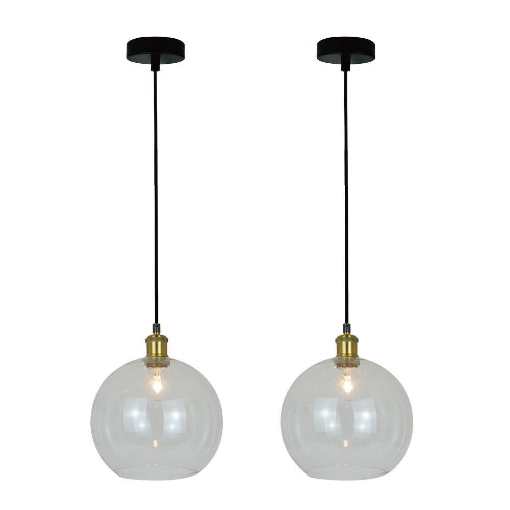 Kit 2 conjunto pendentes de vidro cor bege vintage para cozinha