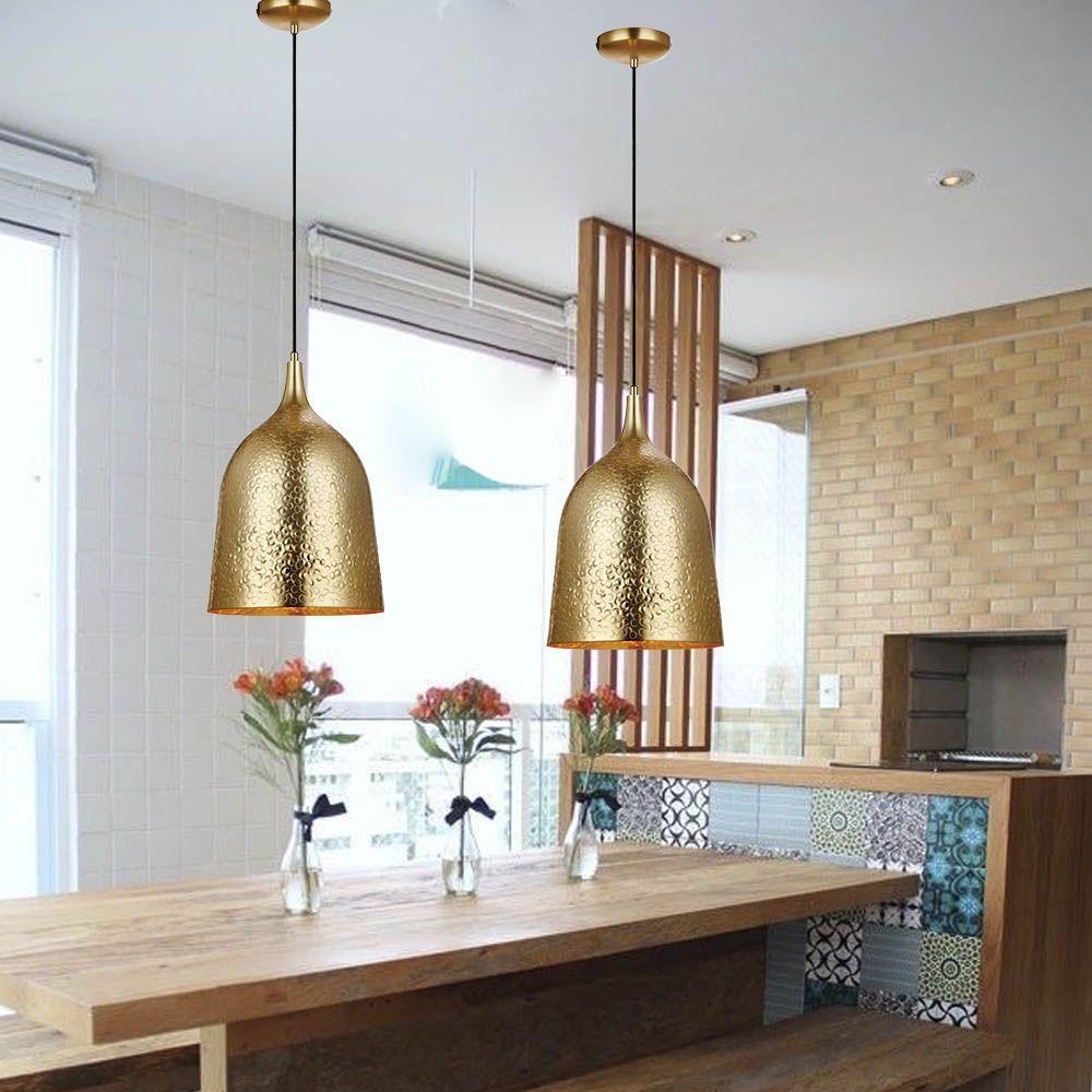 Kit 2 pendentes dourado para sala de jantar