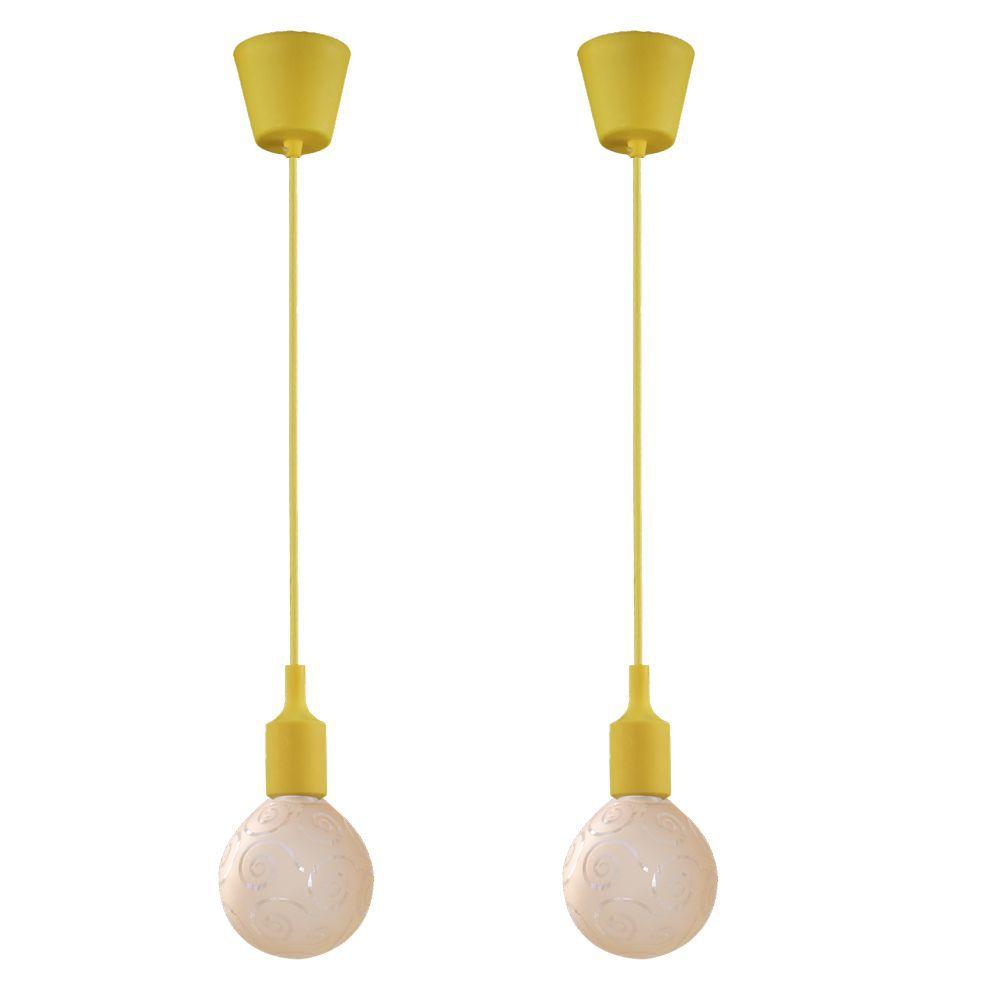 kit 2 pendentes amarelo soquete com globo ambar para sala