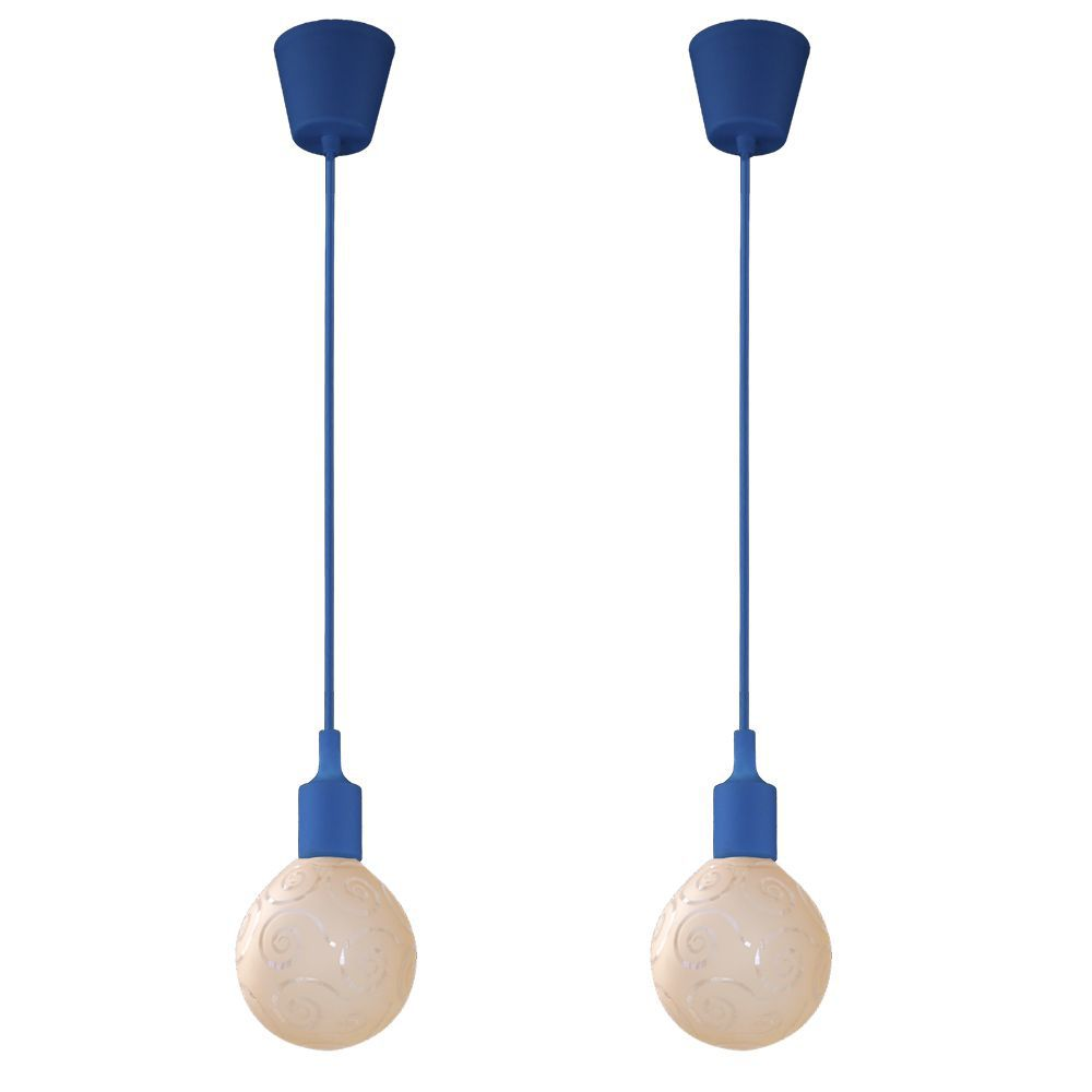 kit 2 pendentes azul soquete com globo ambar para sala